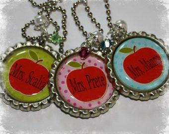 You Choose Color PERSONALIZED Teacher Bottlecap  Pendant Necklace