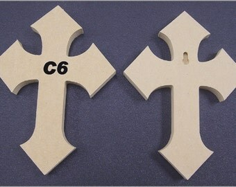 6 x 9 x 1/2 Inch Wooden Cross made from MDF, Choose from 24 different Crosses. FREE SHIPPING 9-14