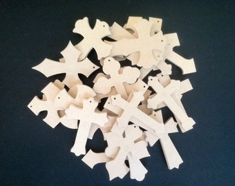 """Bag of Crosses, 100 2 1/2"""" x 4"""" x 1/4 """" w/holes. We pick the style and you save, Free shipping.  BOC040625-100T"""