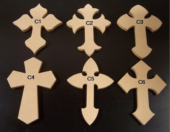 5 4 x 6  Inch Wooden Cross made from 1/2 MDF, Your choice from 24 Crosses.