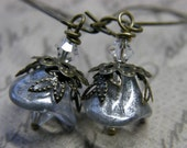 SilverSparkle Blossom Drop. Whimsical Earrings