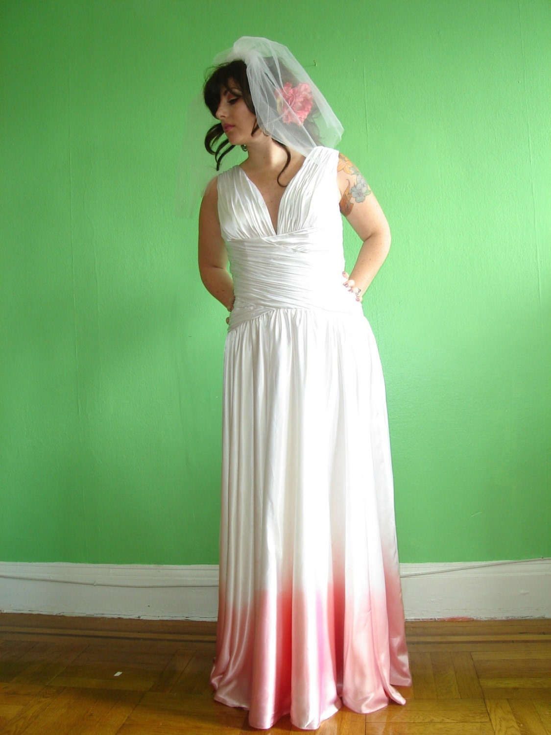 Hand dyed ombre pink wedding dress by revampbykelly on etsy for Pink ombre wedding dress