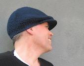 crochet driver's cap/ deep navy blue