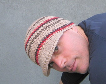 men's visor beanie/ khaki cotton crochet
