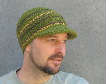 mens's visor beanie/ olive green cotton crochet