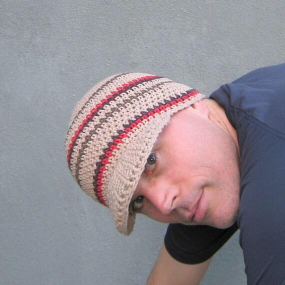men's visor beanie/ khaki cotton crochet