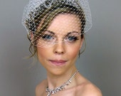 Wedge Birdcage Veil (Free U.S. Shipping) - wedding, french veil, russian veil, ivory, white