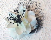 Wedding Accessories Bridal Hair, Poppy Flower and Feather Headpiece - black and white, feather fascinator, boutonniere