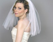 Wedding Accessory Bridal Veil, Double Layered Shoulder Veil - wedding, clean cut edge veil, blusher, white, ivory