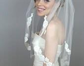 Light Lace Touch Elbow Veil - wedding, mantilla veils, lace veil, art nouveau, alencon, white, soft white, ivory