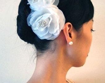 Weddings Accessories Bridal Hair Comb, Garden Rose Duo Headpiece - flower headpiece, white, ivory, hot pink, blush, lavender, blue