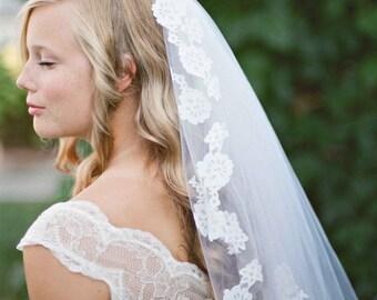 Light Lace Touch Veil - wedding, mantilla veils, lace veil, art nouveau, alencon, white, ivory