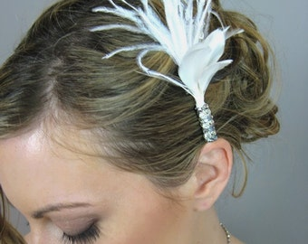 Wedding Accessory Bridal Hair, Feather Spray Headpiece - feather, fascinator, crystals, rhinestones