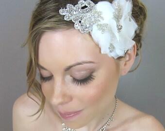 Bridal Hair Flowers, Wedding Hair Accessories, Bridal Silk Hair Flower Head Piece with Rhinestones - lace, white, ivory, crystal