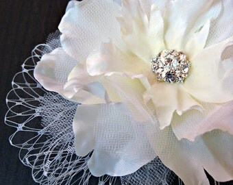 Wedding Bridal Peony Headpiece - bridal, flower headpiece, birdcage veil, lace, rhinestone