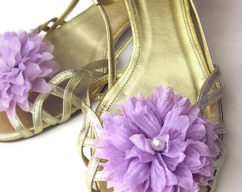 Wedding Accessory Bridal Flower Shoe Clips - bridesmaids, pearl, lavender, pumpkin, pink, blue, orange, teal, fuschia