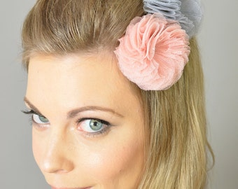 Tulle Flower Hair Clips (set of 2) - bridal, sweet sixteen, bridesmaids, pearl, pink, blush, peach, something blue, grey, silver, fuschia