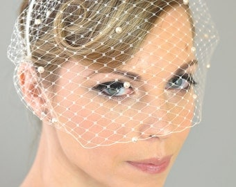 Wedding Bridal Birdcage Veil, Pearls Touching (Free U.S Shipping) - blusher Veil, bridal head band, french, russian, ivory, white