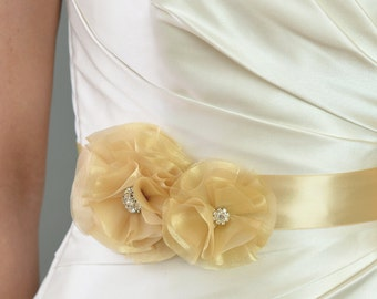 Wedding Accessories Bridal Sash, Rei Organza Flowers Bridal Belt - champagne, gold, white, ivory, flower dress sash, rhinestone