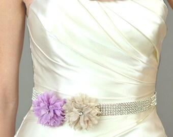 Wedding Accessory Bridal Sash, Spring Flowers Bridal Belt - bridesmaids, rhinestone, orange, pink, lavender, royal blue, teal, fuschia