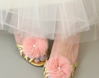 Tulle Flower Shoe Clips - wedding, bridal, sweet sixteen, bridesmaids, pink, blush, peach, blue, silver, fuschia