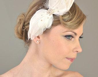 Wedding Bridal Accessories Hair, Ballerina Feather Headpiece - bridal hair comb, rhinestone, crystals, bridal headband