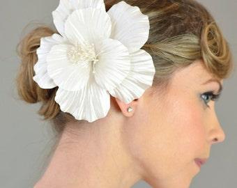 Weddings Bridal Accessory Hair, Satin Habicus Flower Headpiece - big flower, oversize flower, satin, white, ivory