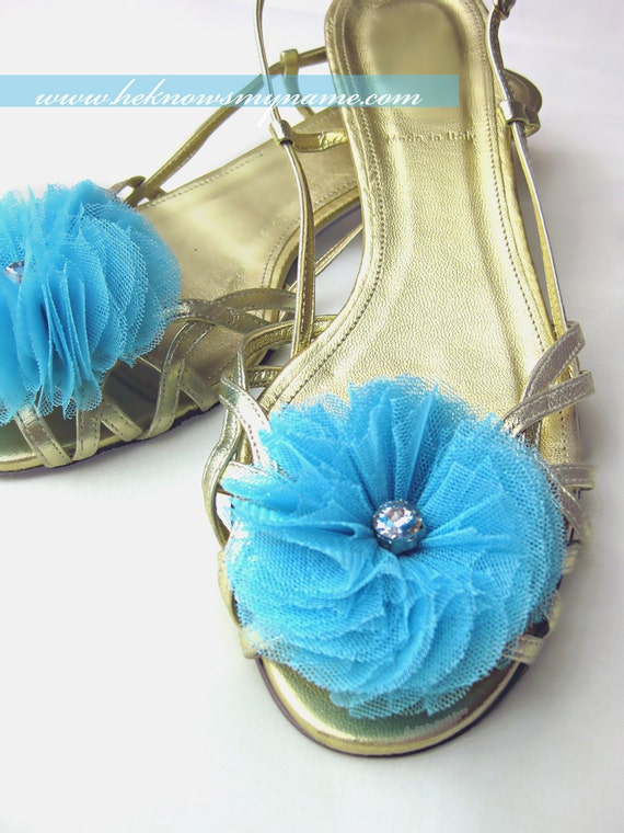 Tulle Flower Shoe Clips (Free U.S Shipping) - wedding, bridal, sweet sixteen, bridesmaids, turquoise, something blue, silver, fuschia