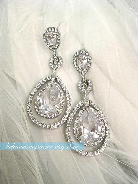 Wedding Bridal Chandelier Earrings, Raindrops (Free U.S. shipping) - accessory, rhinestones, crystals, oscar, sweet sixteen, prom