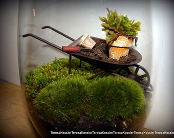 DIY Wheelbarrow or Wagon terrarium kit-Live Moss-Rustic wheelbarrow-Small moss pots-small garden tools-GLASS is NOT included