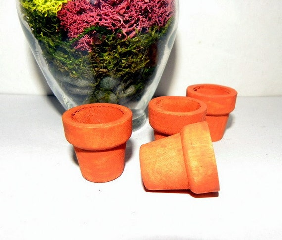 6 Miniature Terra Cotta look Pots in 2 sizes-Great for Terrariums and Fairy Gardens-3 large 3 small
