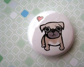 Pug Love - pin or magnet