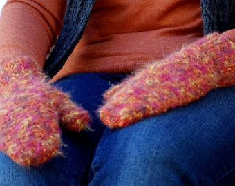 SALE! Red Variegated Crochet Handmade Mittens
