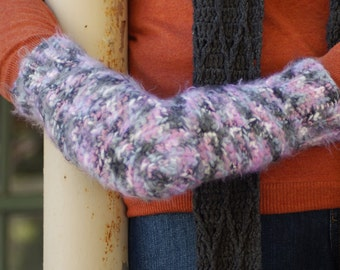 Pink and Gray Variegated Crochet Handmade Mittens