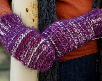 SALE! Purple Stripe Crochet Handmade Mittens