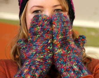 Multicolored Crochet Handmade Mittens