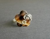 BIG SUMMER SALE  -  Wire Wrapped Flower Button Ring