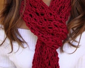 10% OFF Scarlet Red Wool Acrylic Hand Knit Scarf FREE USPS Priority Shipping