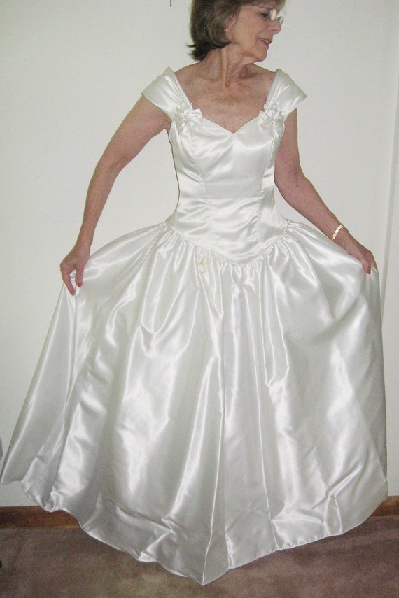 Vintage 80s bridal wedding gown in white satin by for Vintage satin wedding dresses