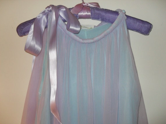 Vintage 60s Lingerie Aqua and Lavender Nightgown and Robe Set, Size Medium