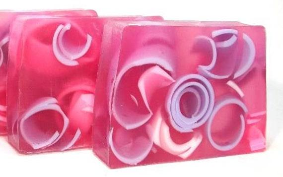 Jasmine Swirly Curly Handmade Glycerin Soap, springtime floral, purple pink color, shea butter