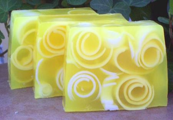 Sale Lemon Soap, Light fragrance, handmade glycerin soap