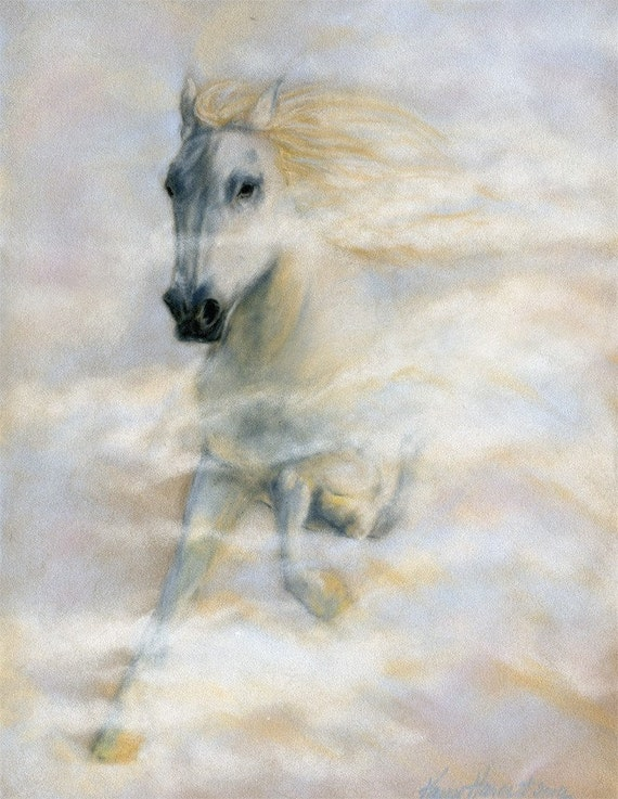 Riding on the Clouds - Original Pastel of a White Horse