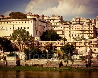 India Photograph. Sunset at the City Palace of Udaipur, India.