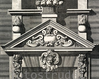 "Poster Size Reproduction of Louis XV French Architectural Design, Palaminy Building, 1902. 24"" x 20"""