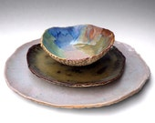 Reserved for Hannasnana - 2 rustic stoneware dinnerware handmade Rver Journey 3 piece sets