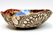 Textured Lace Bowl in River Journey hand built stoneware pottery