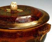 Owl 2 quart casserole with Tree Branch Handles handmade stoneware pottery