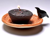 Black Raven - tiny tray candle holder