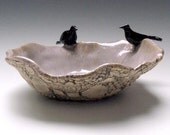 Raven Consultation- rustic hand built  stoneware sculpture pottery bowl